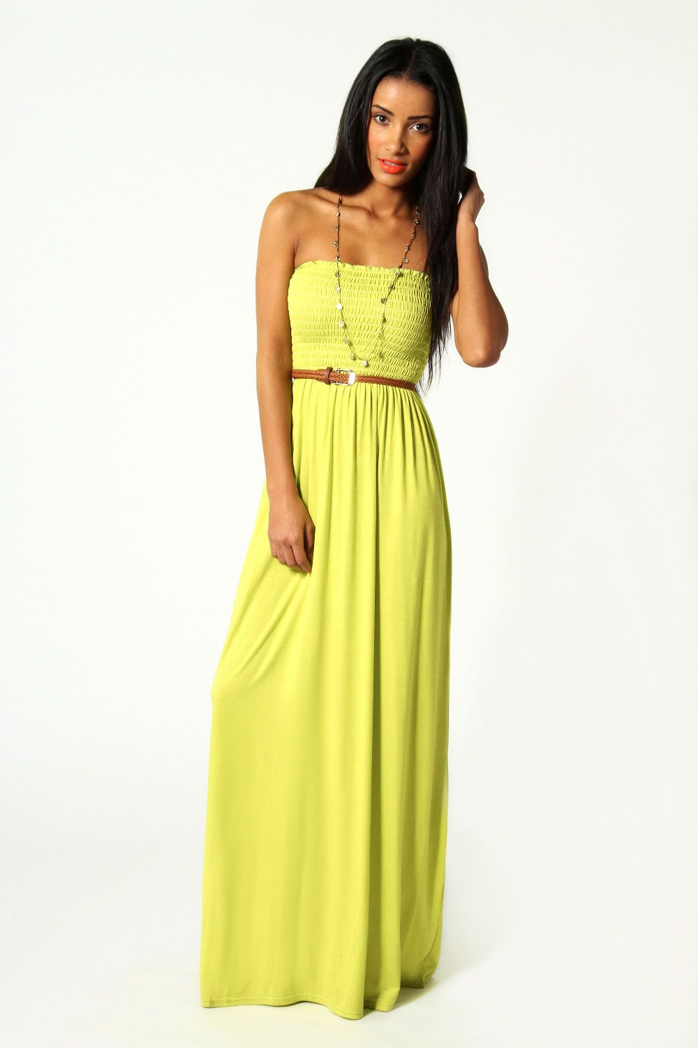 9e69d74c97bf6 Shirred Bandeau Maxi Dress | Fashion | Strappy maxi dress, Yellow ...