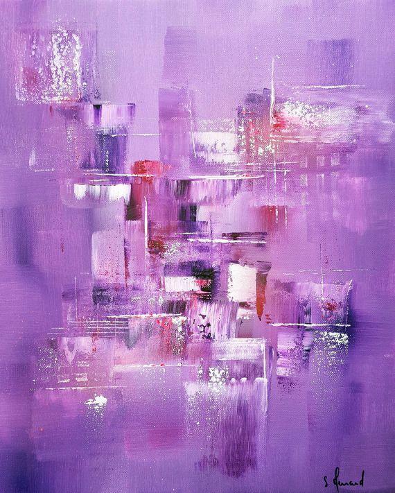 Toile moderne colorée Peinture acrylique Huile - argenté - violet