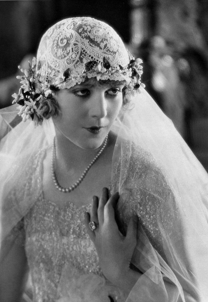 Vilma Bánky photographed in her wedding dress on the day of her marriage to actor Rod La Rocque, 1927