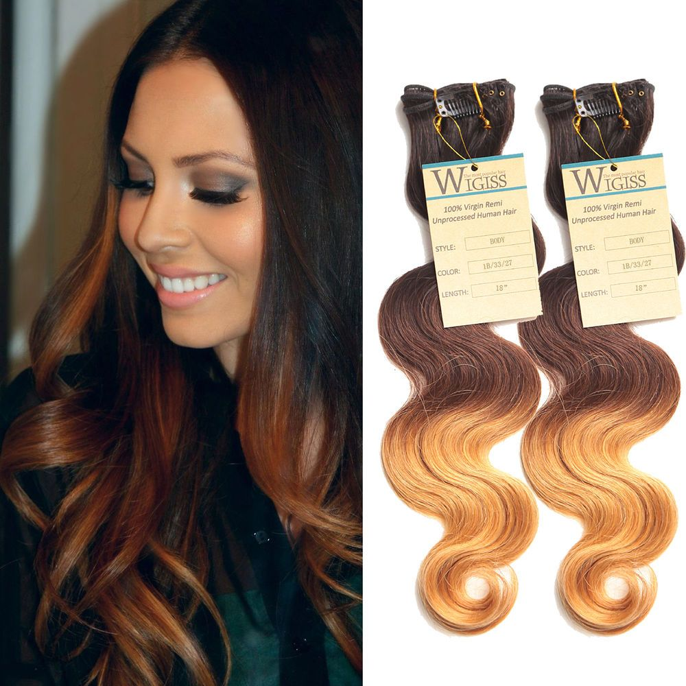 Hot sale Clip In Ombre Brazilian Human Hair Extension 12