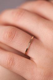 Photo of Thin Gold Ring, 14K Thin Band, Tiny Gold Ring, Ultra Thin Gold Ring, 14K Solid G…
