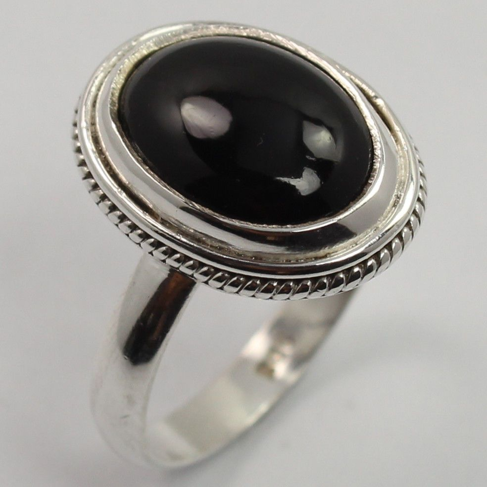 Hot Design Ring Size US 8 Genuine BLACK ONYX Gemstone 925 Solid Sterling Silver #SunriseJewellers #Fashion