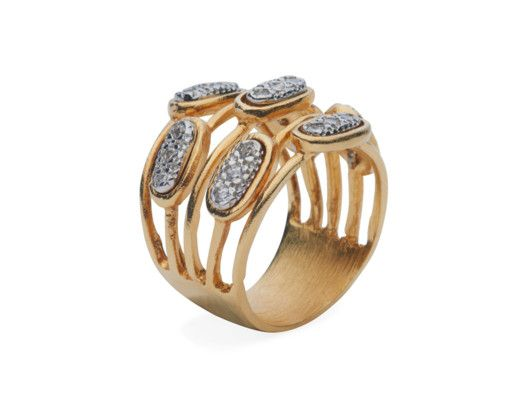 Multi-Band Ring with Embedded CZ Stones by Marcia Moran from Kelly Killoren Bensimon on OpenSky