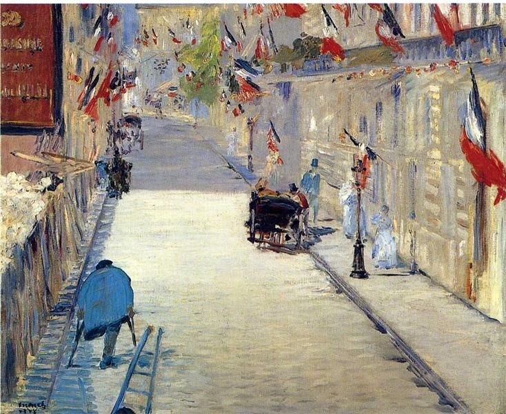 Édouard Manet, French (1832-1883)   The Rue Mosnier with Flags, 1878   Paul Getty Museum, Los Angeles