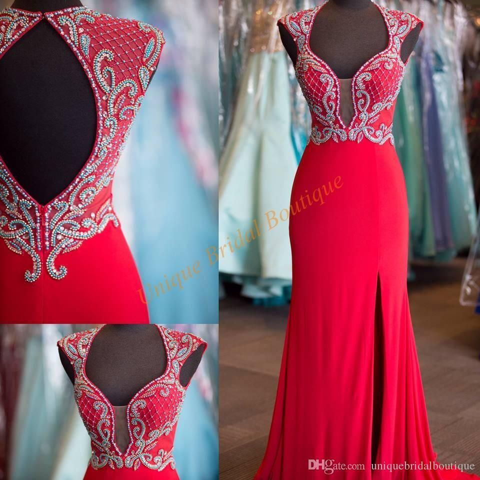 2k16 Prom Dresses High Split with Cap Sleeves and Open Back Real ...