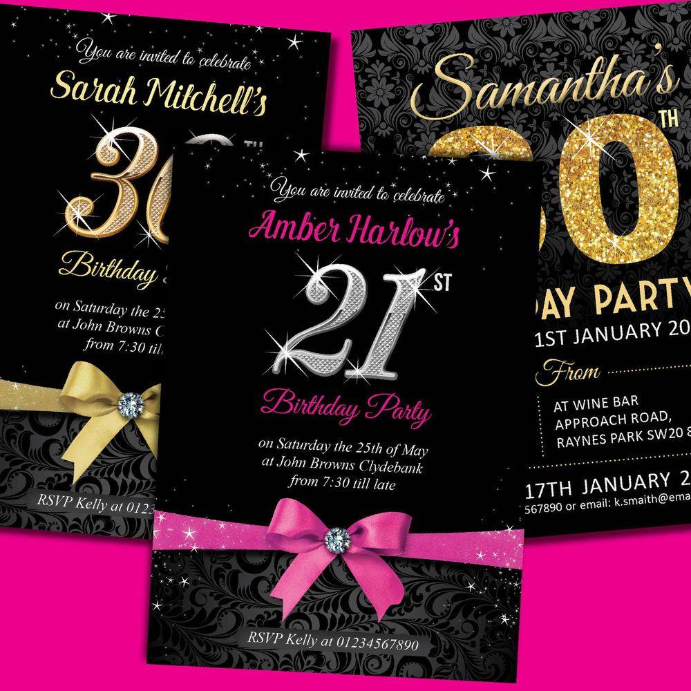 Glamorous Party Invitations Free 30th Birthday Invitations Detail