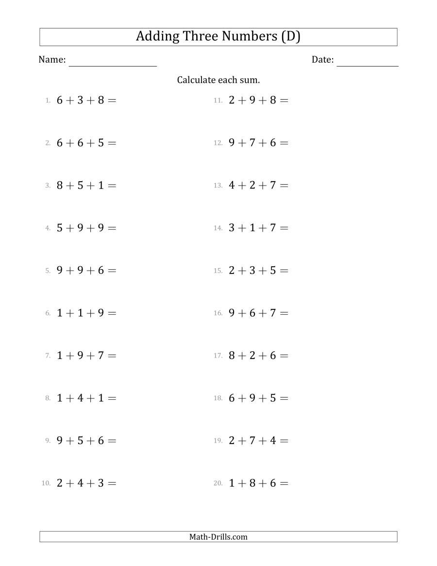 The Adding Three Numbers Horizontally Range 1 To 9 D Math Worksheet From The Addition Wo In 2020 Writing Algebraic Expressions Fractions Worksheets Math Worksheets