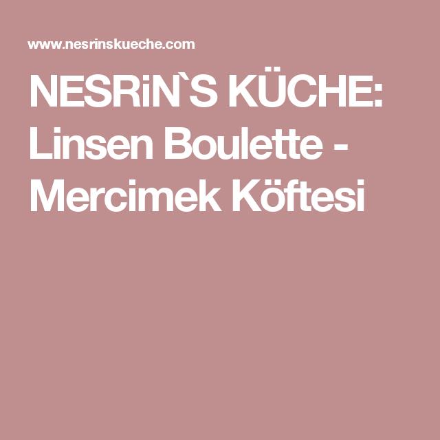 NESRiN`S KÜCHE: Linsen Boulette - Mercimek Köftesi