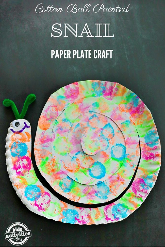 COTTON BALL PAINTED SNAIL PAPER PLATE CRAFT - Kids Activities & COTTON BALL PAINTED SNAIL PAPER PLATE CRAFT