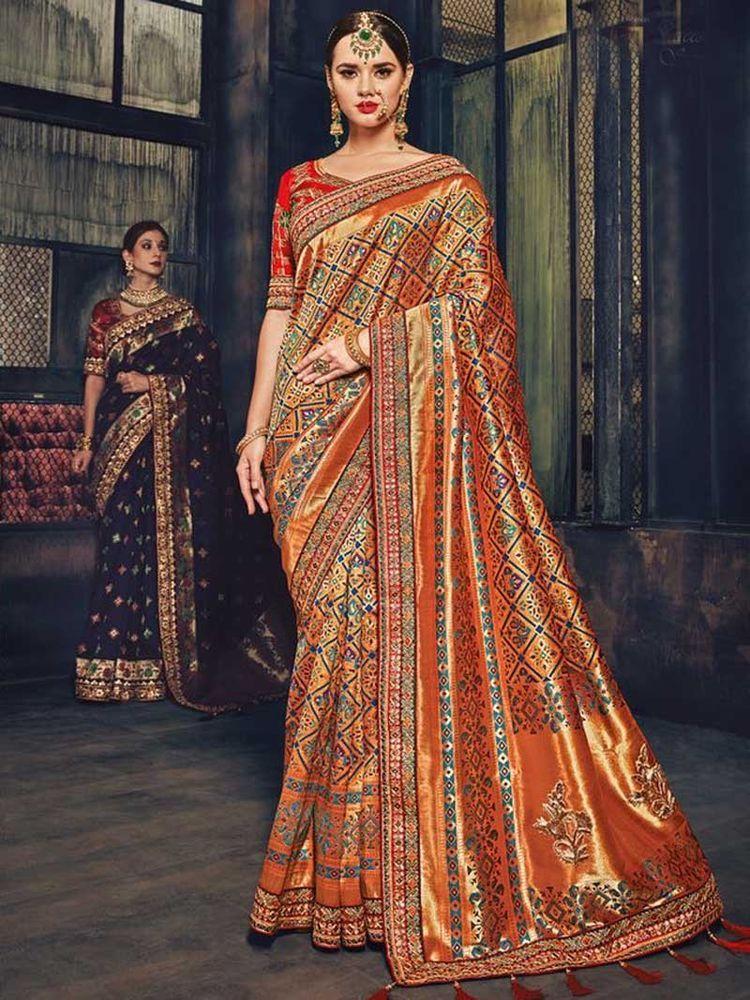 New Designer Indian Saree Blouse Wedding Party Wear Banarasi Silk