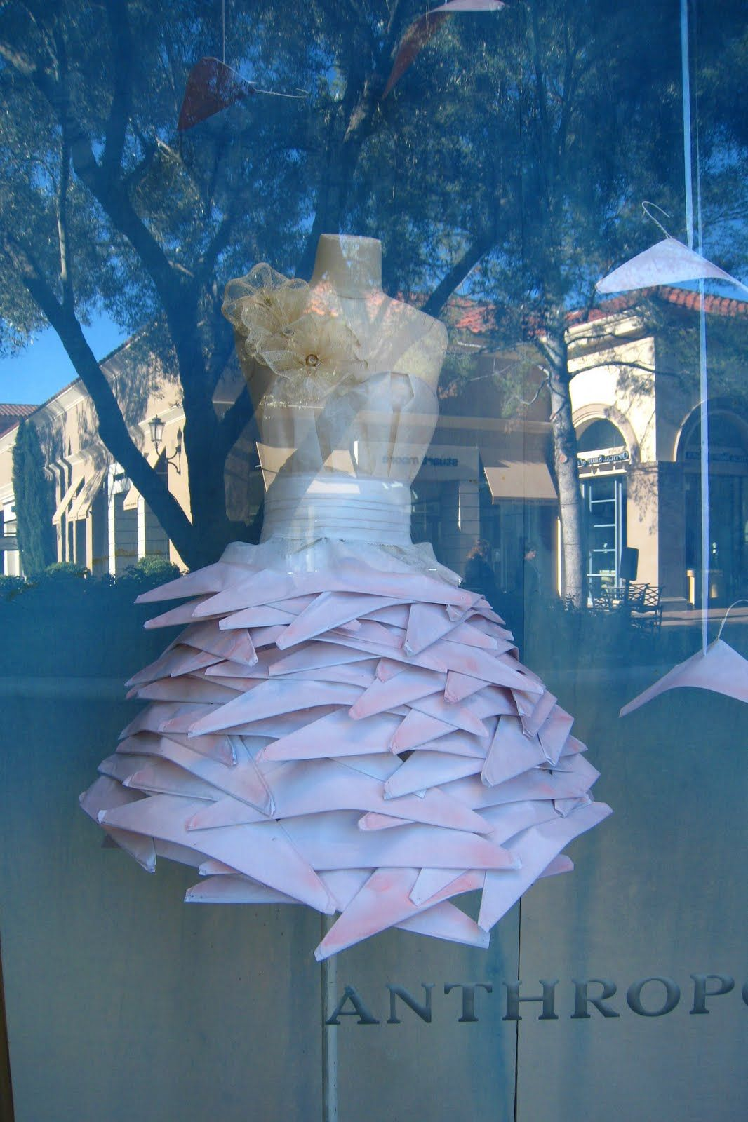 Store Window Display dress using wire hangers with the paper ...