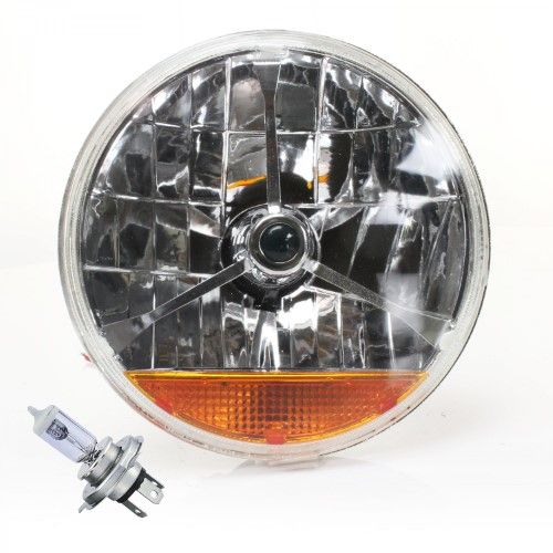 """Snake-Eye 7/"""" Inch Halogen Lens Assembly with Amber Turn Signal  Pair v8 truck"""