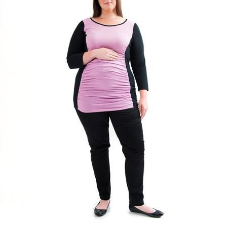 Labor of Love Maternity Plus-Size 3/4 Sleeve Colorblock Tee with Flattering Side Ruching $14