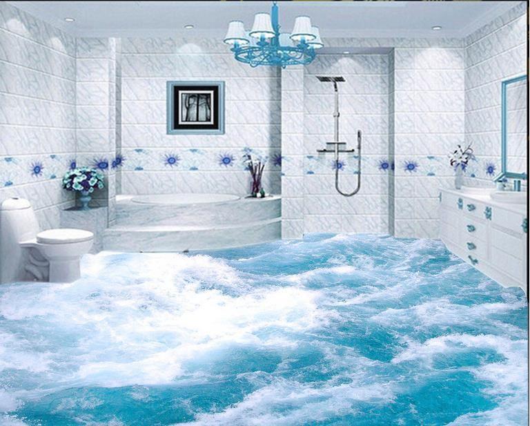 Custom Vinyl Wallpaper 3d Flooring Self Adhesive Wallpaper Spray Rivers 3d Floor Tiles Water Beach Theme Bathroom European Bathroom Design Beach Bathroom Decor