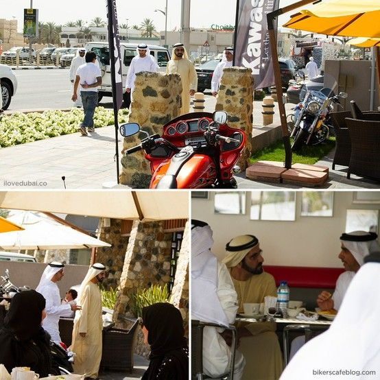 Ruler of Dubai, His Highness Sheikh Mohammed bin Rashid Al Maktoum, casually having a lunch at Bikers Cafe in Dubai. You know YOU'VE DONE SOMETHING RIGHT, when you are a ruler/politician and you are able to walk in to any public restaurant with NO SECURITY simply for a lunch. Photo Courtesy of Bikers Cafe. via I Love Dubai