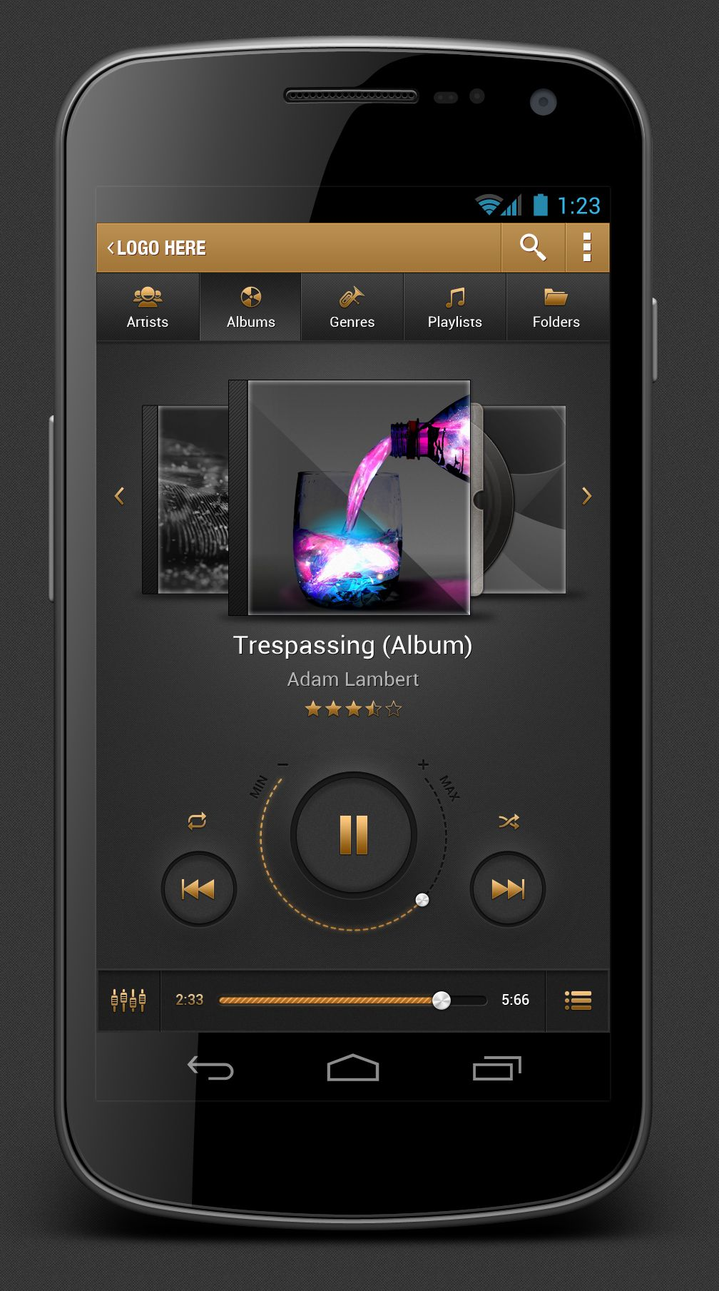 Android Music Player App by Revival Pixel, via forrst