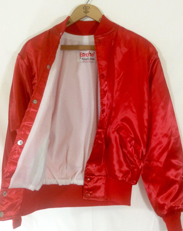 Womens Vintage Cherry Red Satin Bomber Jacket With Snaps By Etsy Satin Bomber Jacket Red Satin Bomber Jacket [ 1500 x 1189 Pixel ]