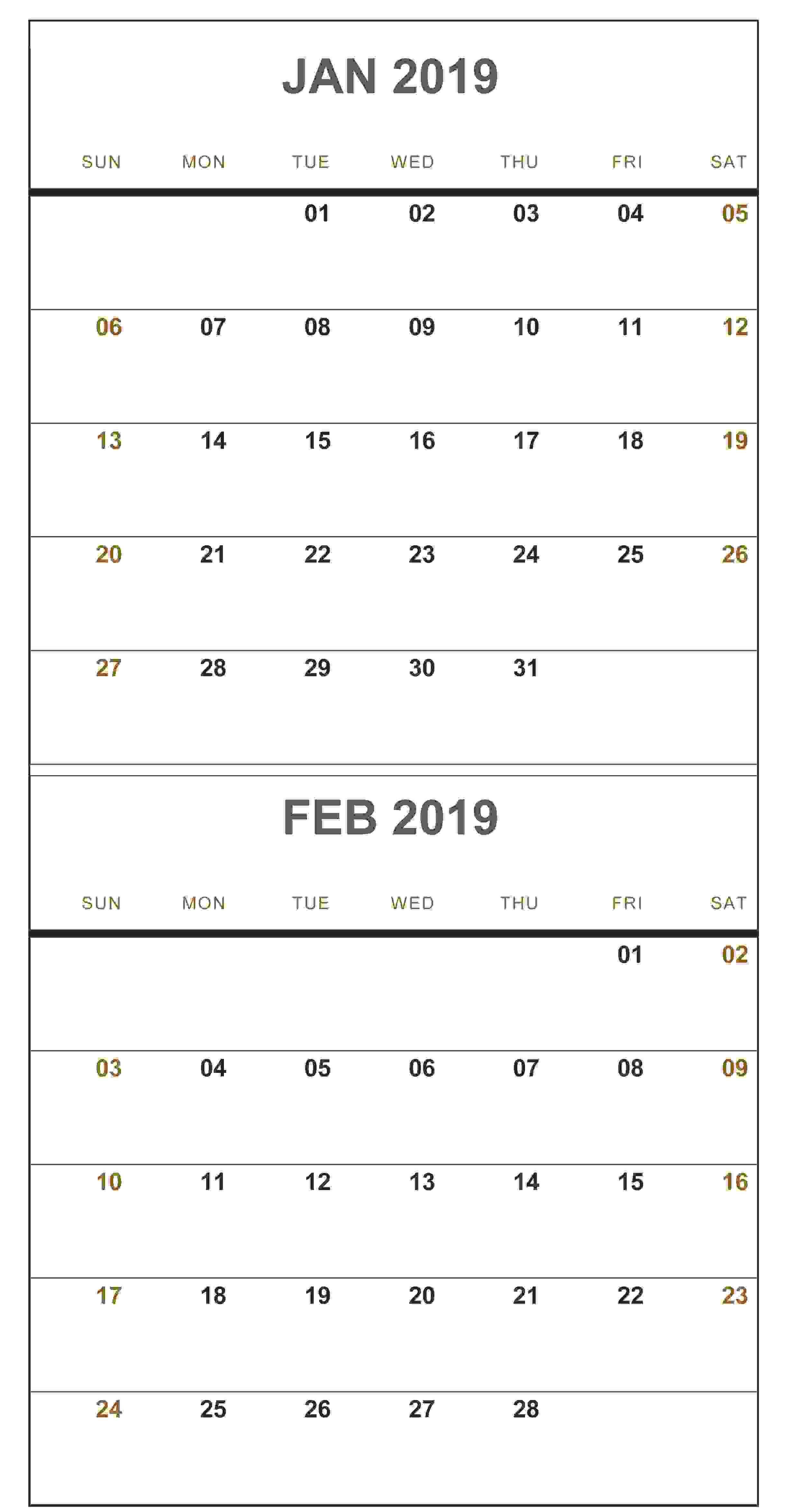 january february 2019 calendar portrait