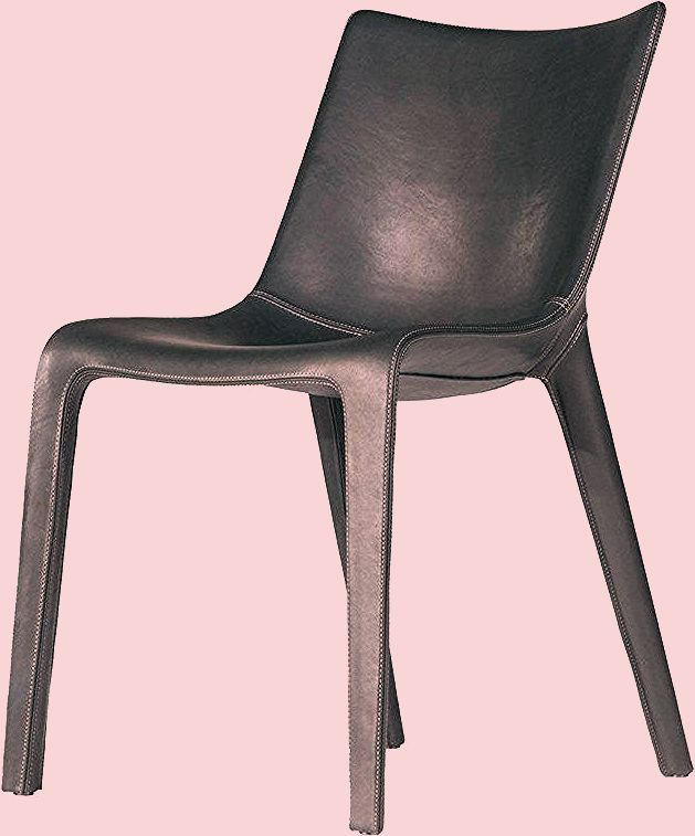 Photo of Lou Eat Chair in Black Leather by Philippe Starck and D. Sugasawa for Driade
