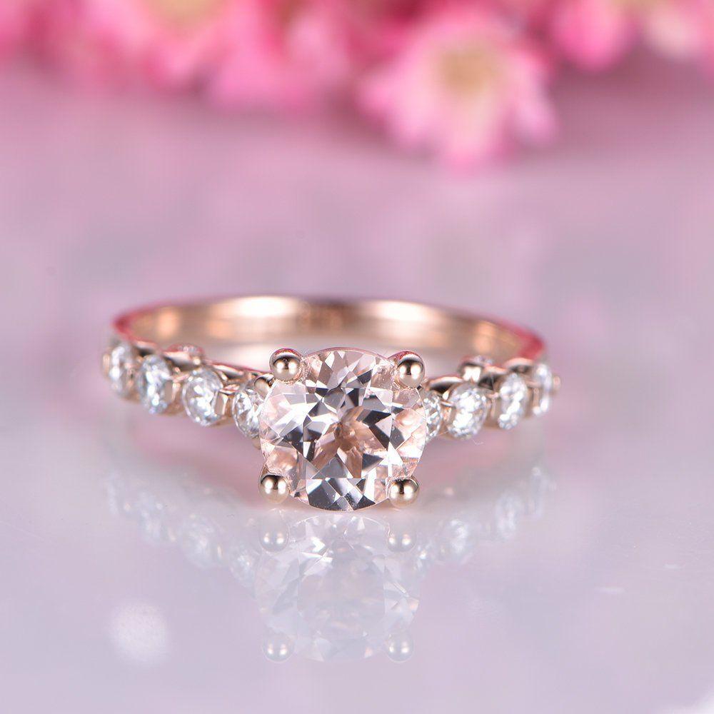 Pink morganite engagement ring rose gold moissanite wedding band 6.5 ...