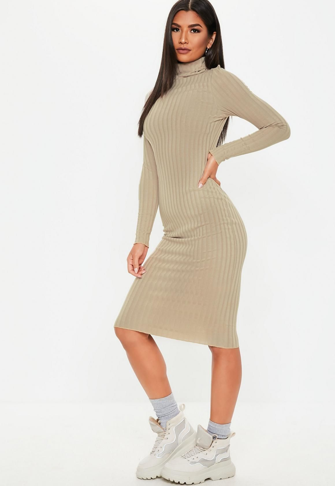 e8cefcc5e91 Missguided - Stone Ribbed Roll Neck Lettuce Hem Midi Dress