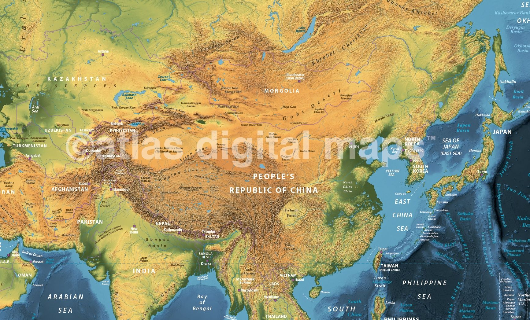 Land and sea relief map of asia with navy sea detail world maps dark style contemporary canvas world wall map x gumiabroncs Gallery