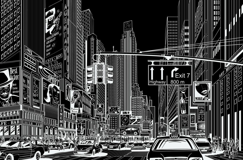 Cartoon City Black Pop Art De Marilyn Monroe Vinilos Ilustraciones
