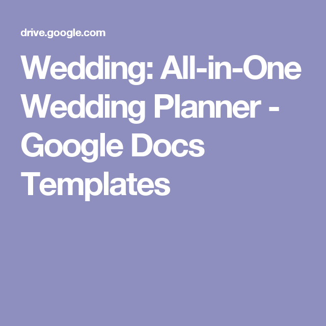 Wedding AllinOne Wedding Planner Google Docs Templates - Google docs planner