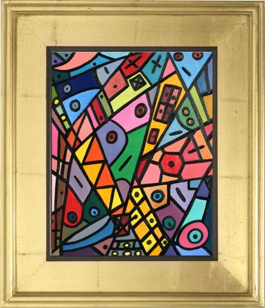 Brothers Eye Oil on paper Geometric fine art by Tim Hovde