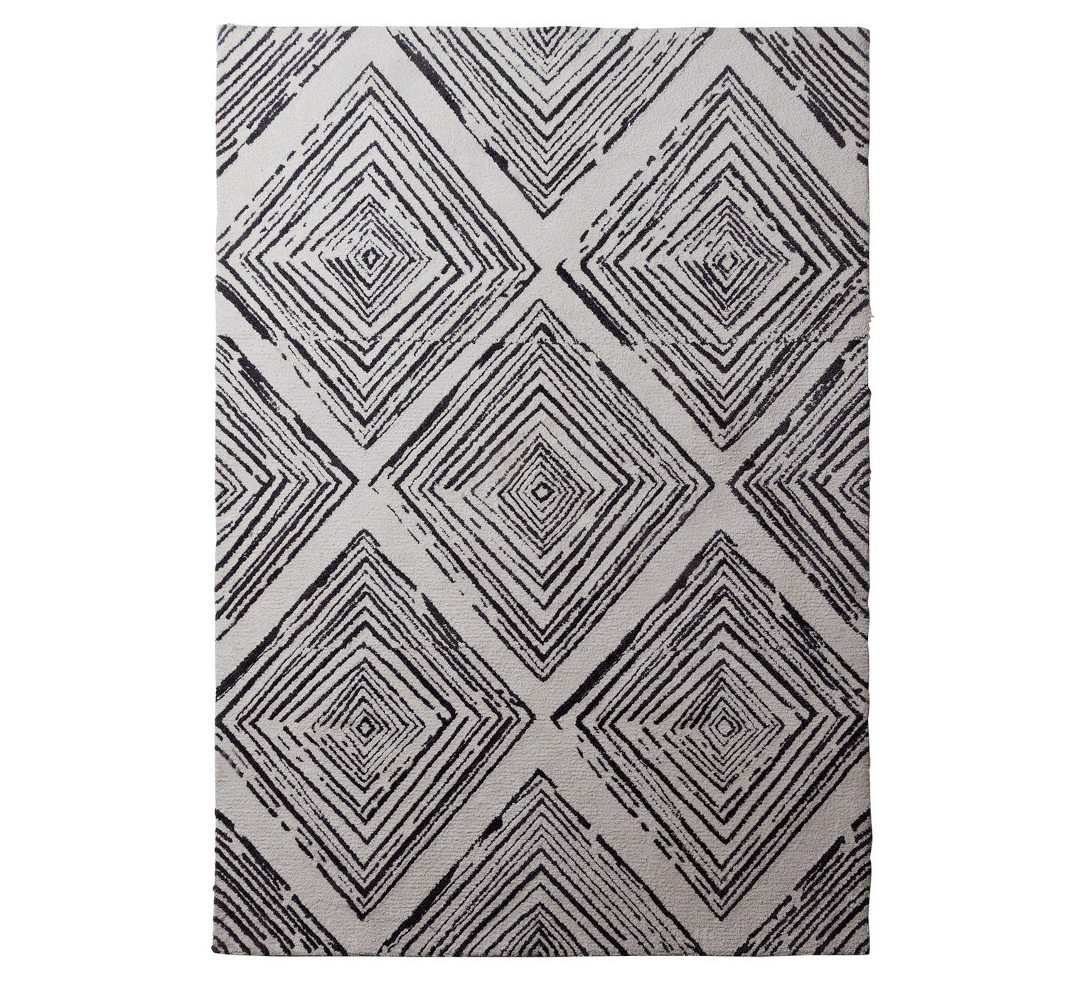 Collection Distressed Diamond Shaggy Rug 230x160cm At Argos Co Uk Visit