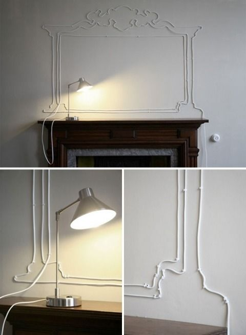 Creative wire solution - tack a longer cable in a decorative pattern ...