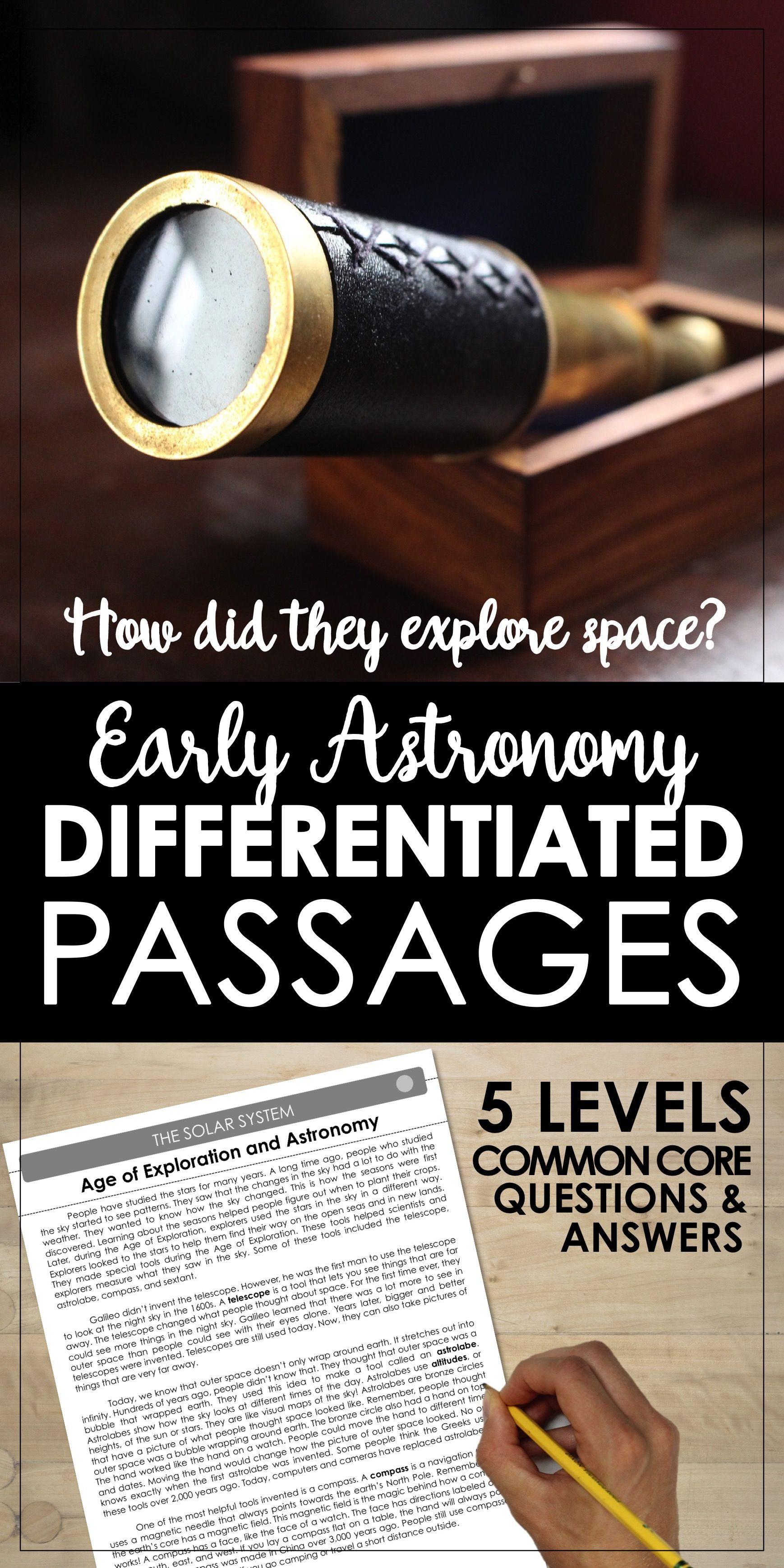 worksheet Leveled Reading Passages early astronomy differentiated leveled reading passages solar systems stars in the sky