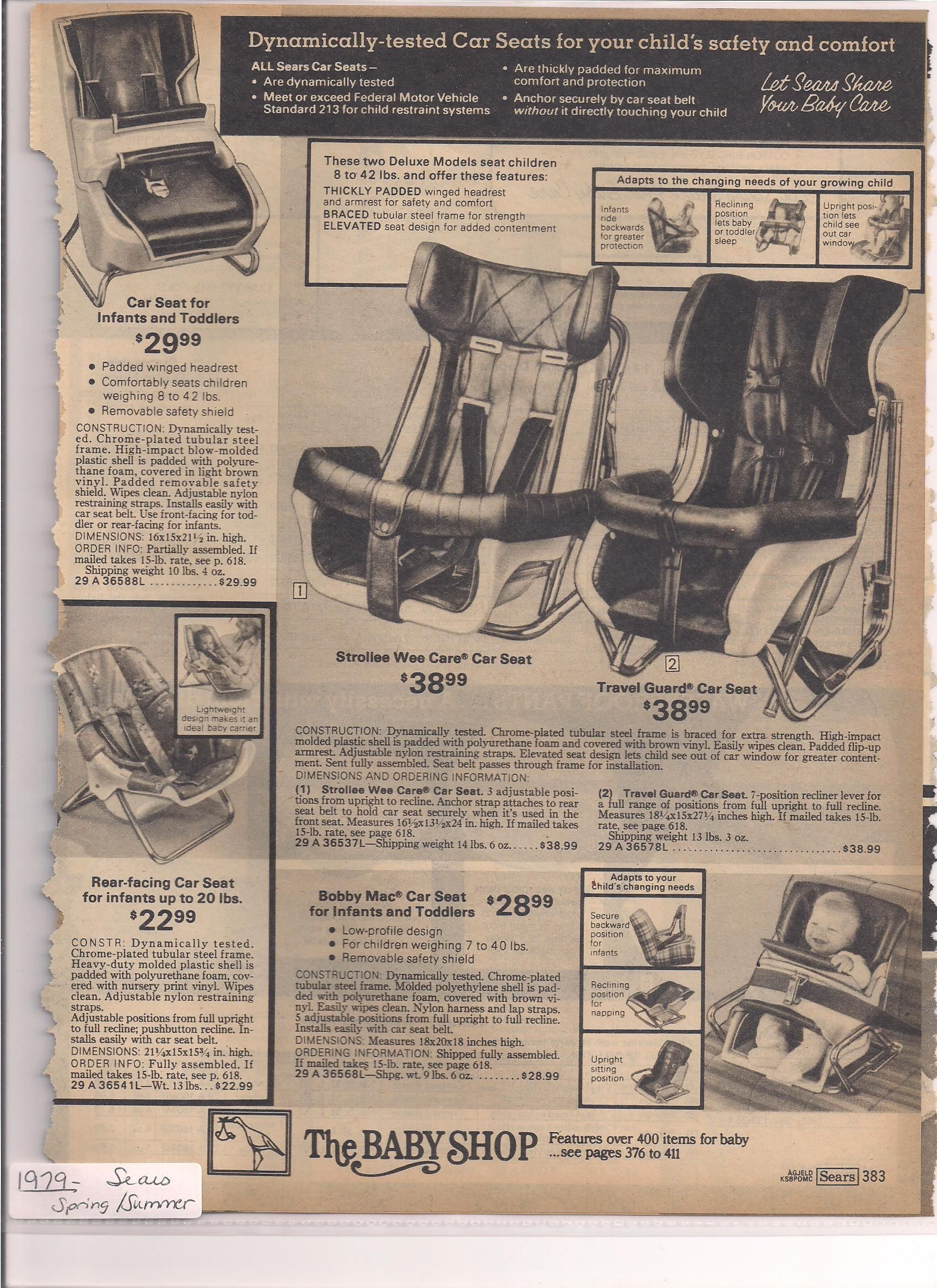 Sears 1979 Spring Summer Baby Carriers Child Safety Vintage Kids Car