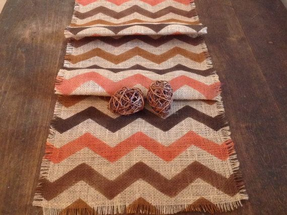 Rustic Autumn Burlap Chevron Table Runner Thanksgiving 12 14 By 120, 132 Or 144  Table Decor
