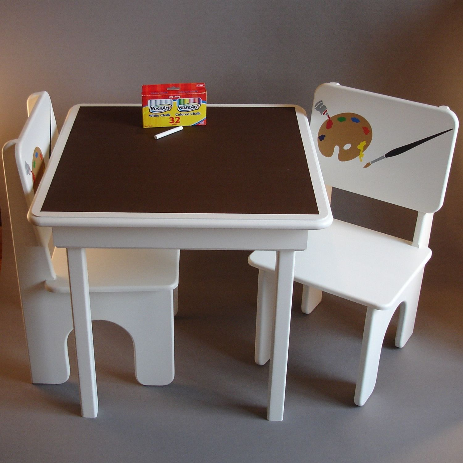 Chalkboard Table and Chairs for Little Artists in Coffee and Cream
