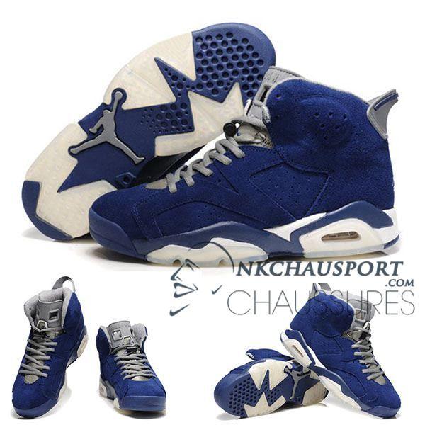 Nike Air Jordan 6 Classique Chaussure De Basket Homme Bleu Grise