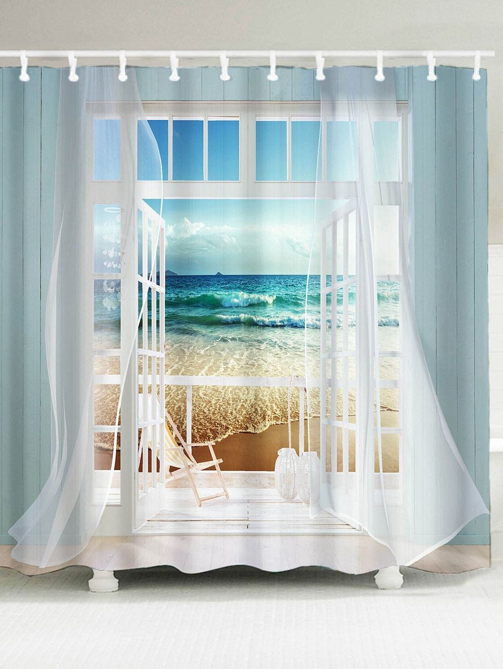 Window Frame Ocean Scene Printing Shower Curtain Window In