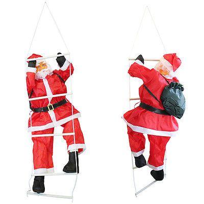 Weihnachtsmann auf Leiter 90cm Weihnachts Deko Weihnachten Figur Nikolaus #leiterdekoweihnachten