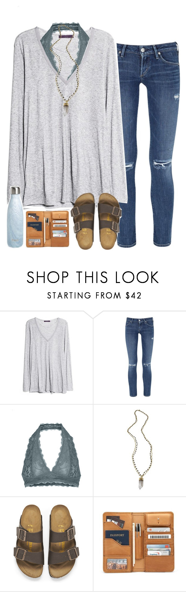 """follow me on stuff n style :))"" by sarahc01 ❤ liked on Polyvore featuring MANGO, Citizens of Humanity, Free People, Alexandra Beth Designs, Birkenstock and S'well"