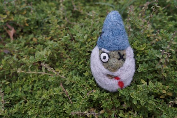 Zombie Gnome - Needle Felted Wool Art - Good Natured By Dani, $20.00