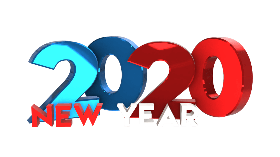Colorful 3D Happy new year 2020 png transparent images