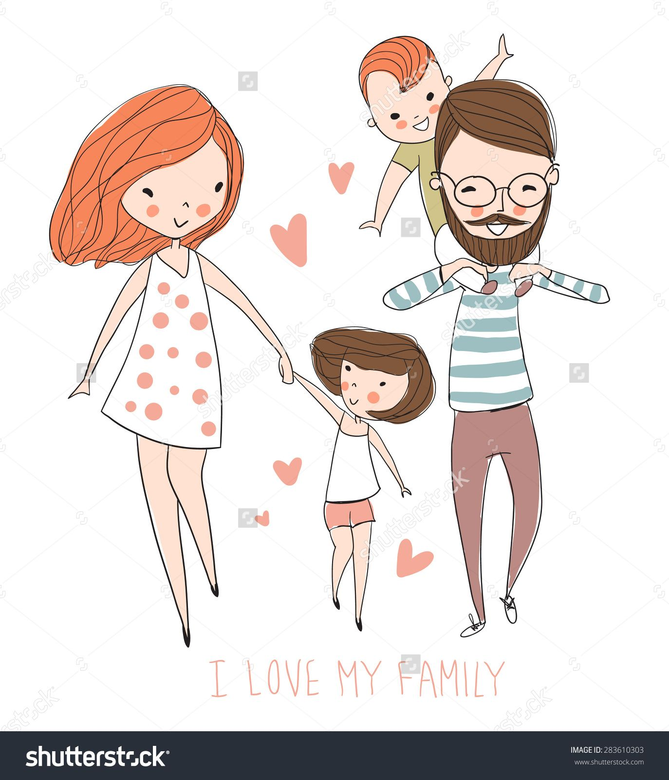 I Love My Family Cute Vector Illustration With Mother Father