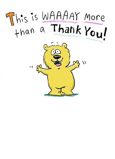 funny thank you card cartoon illustration bear hug fold middle smile thanks thank you happy cute fun more its a hug that folds in the middle