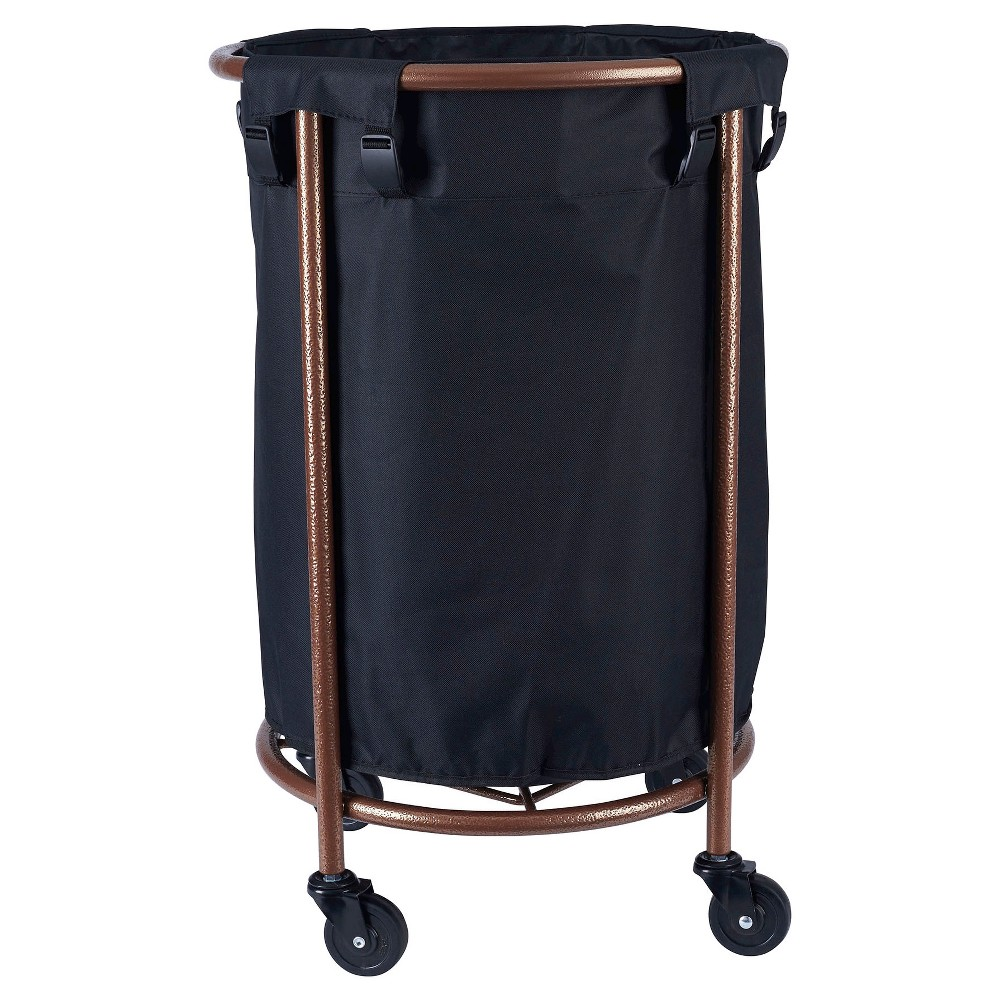 Household Essentials Rolling Round Laundry Hamper Copper Black