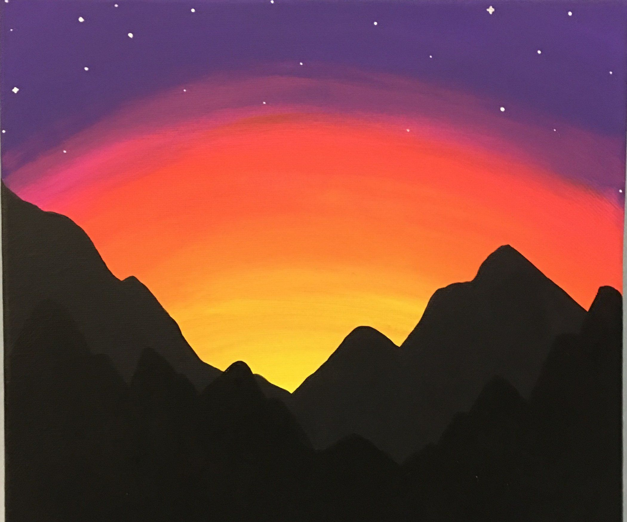 Paint A Mountain Sunset For Beginners Silhouette Painting