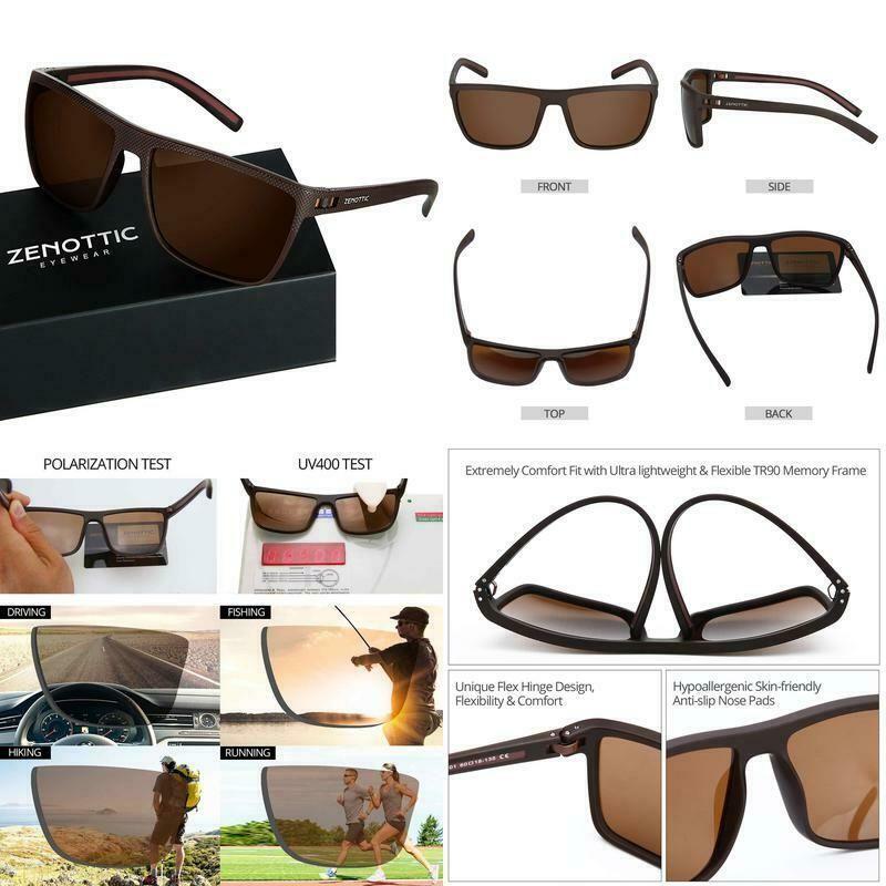 ZENOTTIC Men Square Sunglasses Polarized Lightweight TR90 UV Sun Glasses BT6204