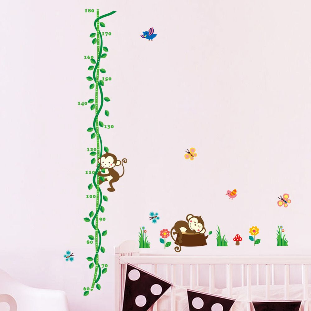 Aliexpress buy tree monkey bird removable cartoon wall decal aliexpress buy tree monkey bird removable cartoon wall decal stickers growth chart height geenschuldenfo Image collections
