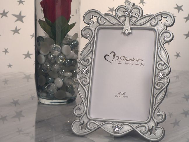 blessed events cross design photo frame in silver with rhinestones