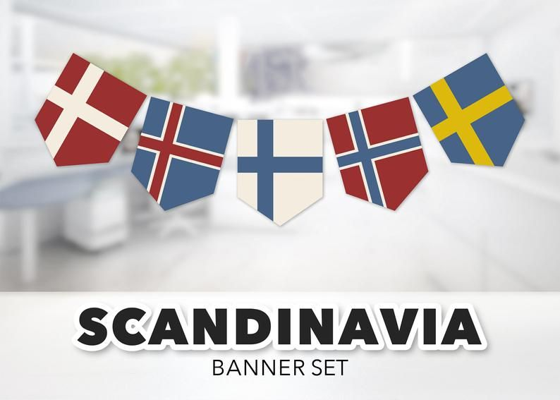 Flags Of Scandinavia Banner Set Nordic Scandinavian Etsy In 2020 Scandinavia Viking Party Denmark Flag