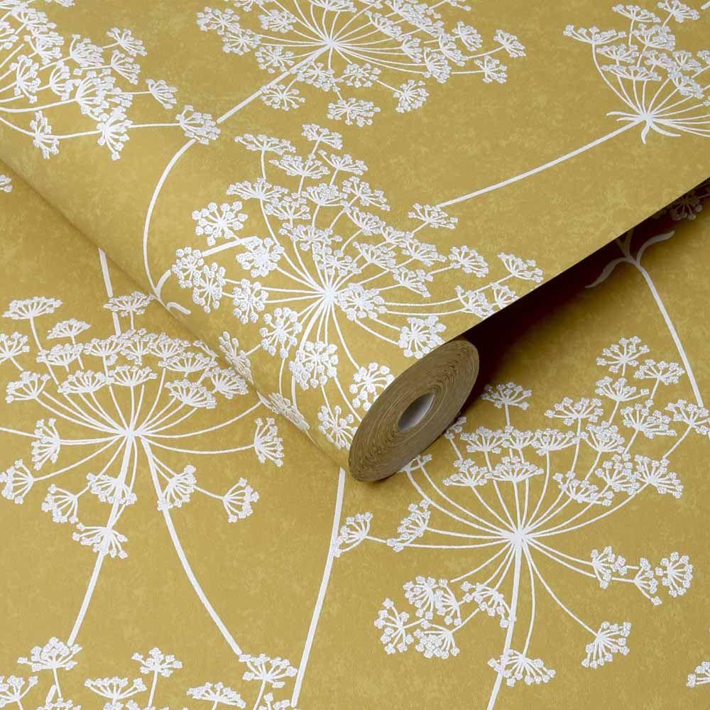 Graham & Brown Superfresco Easy Aura Ochre White Wallpaper